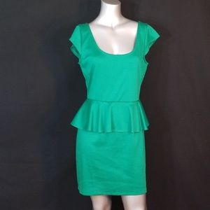 💟3/$24💟ACCIDENTALLY IN LOVE EMERALD PEPLUM DRESS
